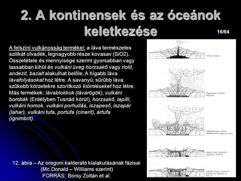 16/64 2. A kontinensek és az óceánok keletkezése A felszíni vulkánosság termékei: a láva természetes szilikát olvadék, legnagyobb része kovasav (SiO2)
