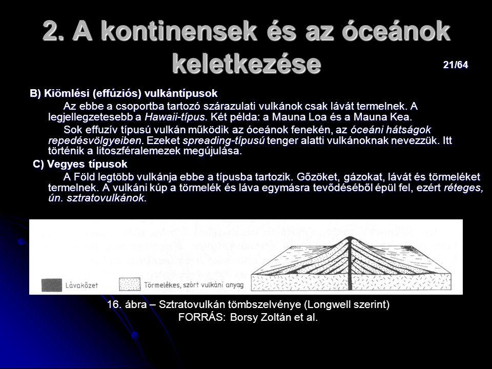 21/64 2. A kontinensek és az óceánok keletkezése B) Kiömlési (effúziós) vulkántípusok Az ebbe a csoportba tartozó szárazulati vulkánok csak lávát term