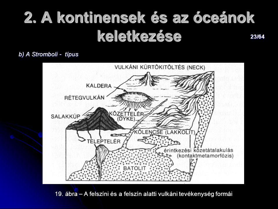 23/64 2. A kontinensek és az óceánok keletkezése b) A Stromboli - típus b) A Stromboli - típus 19. ábra – A felszíni és a felszín alatti vulkáni tevék