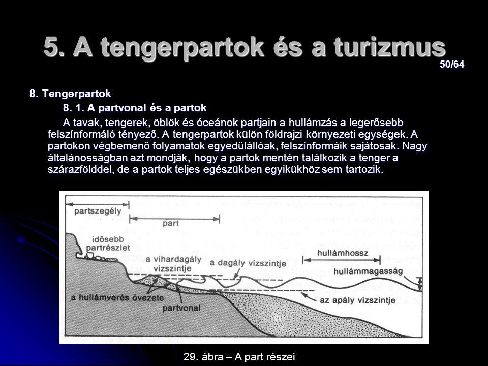 50/64 5. A tengerpartok és a turizmus 8. Tengerpartok 8. 1. A partvonal és a partok 8. 1. A partvonal és a partok A tavak, tengerek, öblök és óceánok