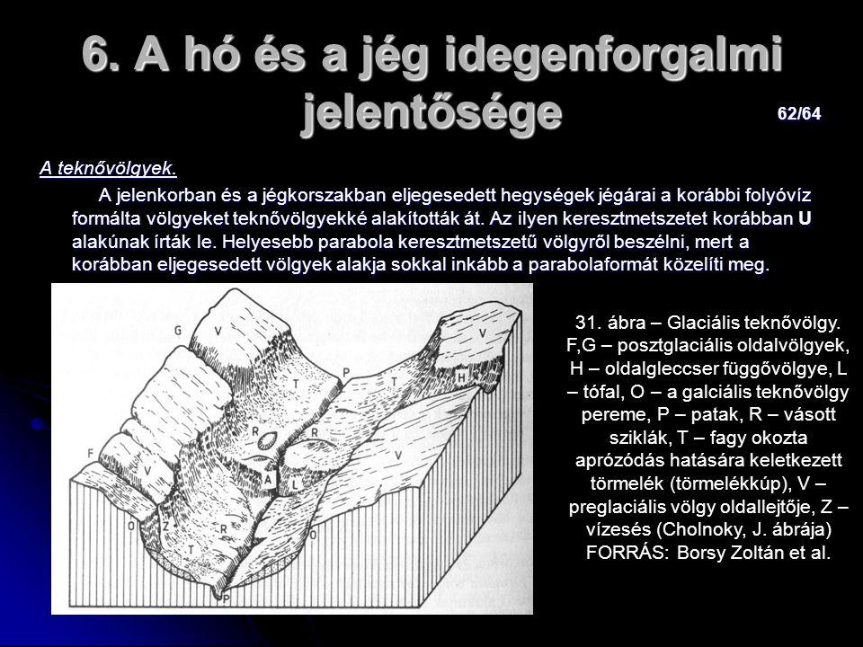 62/64 6. A hó és a jég idegenforgalmi jelentősége A teknővölgyek. A jelenkorban és a jégkorszakban eljegesedett hegységek jégárai a korábbi folyóvíz f