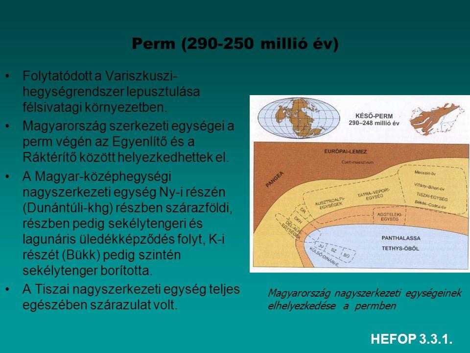 HEFOP 3.3.1. Perm (290-250 millió év) Folytatódott a Variszkuszi- hegységrendszer lepusztulása félsivatagi környezetben. Magyarország szerkezeti egysé