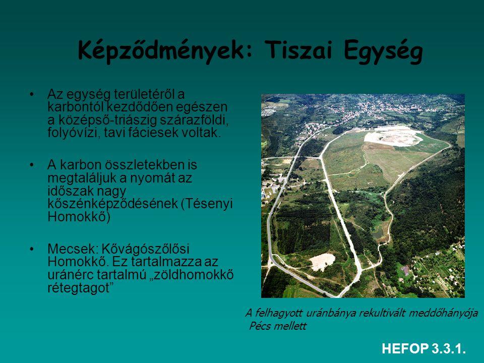 HEFOP 3.3.1. Képződmények: Tiszai Egység Az egység területéről a karbontól kezdődően egészen a középső-triászig szárazföldi, folyóvízi, tavi fáciesek