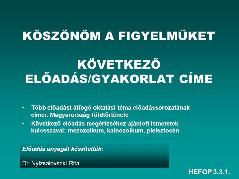 HEFOP 3.3.1. Előadás anyagát készítették: Dr. Nyizsalovszki Rita KÖSZÖNÖM A FIGYELMÜKET KÖVETKEZŐ ELŐADÁS/GYAKORLAT CÍME Több előadást átfogó oktatási