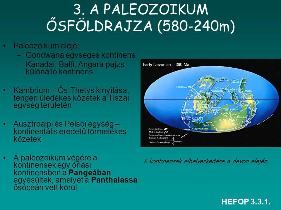 HEFOP 3.3.1. 3. A PALEOZOIKUM ŐSFÖLDRAJZA (580-240m) Paleozoikum eleje: –Gondwana egységes kontinens –Kanadai, Balti, Angara pajzs különálló kontinens