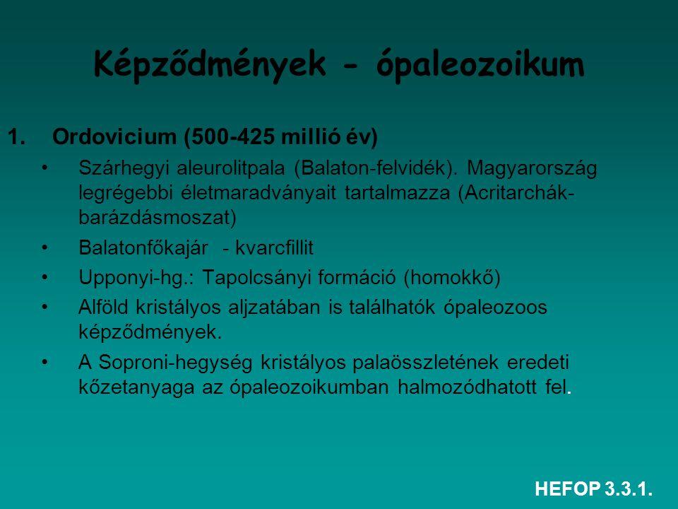 HEFOP 3.3.1. Képződmények - ópaleozoikum 1.Ordovicium (500-425 millió év) Szárhegyi aleurolitpala (Balaton-felvidék). Magyarország legrégebbi életmara