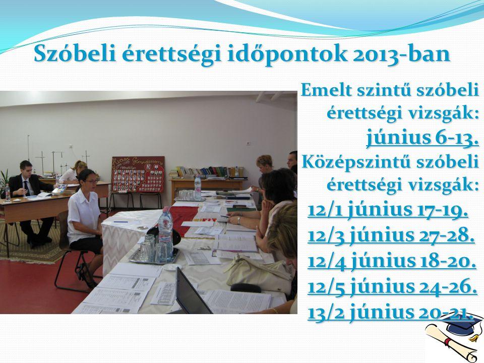 Szóbeli érettségi időpontok 2013-ban Emelt szintű szóbeli érettségi vizsgák: június 6-13. Középszintű szóbeli érettségi vizsgák: érettségi vizsgák: 12
