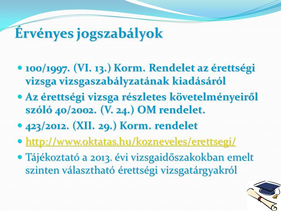 Érvényes jogszabályok 100/1997. (VI. 13.) Korm. Rendelet az érettségi vizsga vizsgaszabályzatának kiadásáról 100/1997. (VI. 13.) Korm. Rendelet az ére