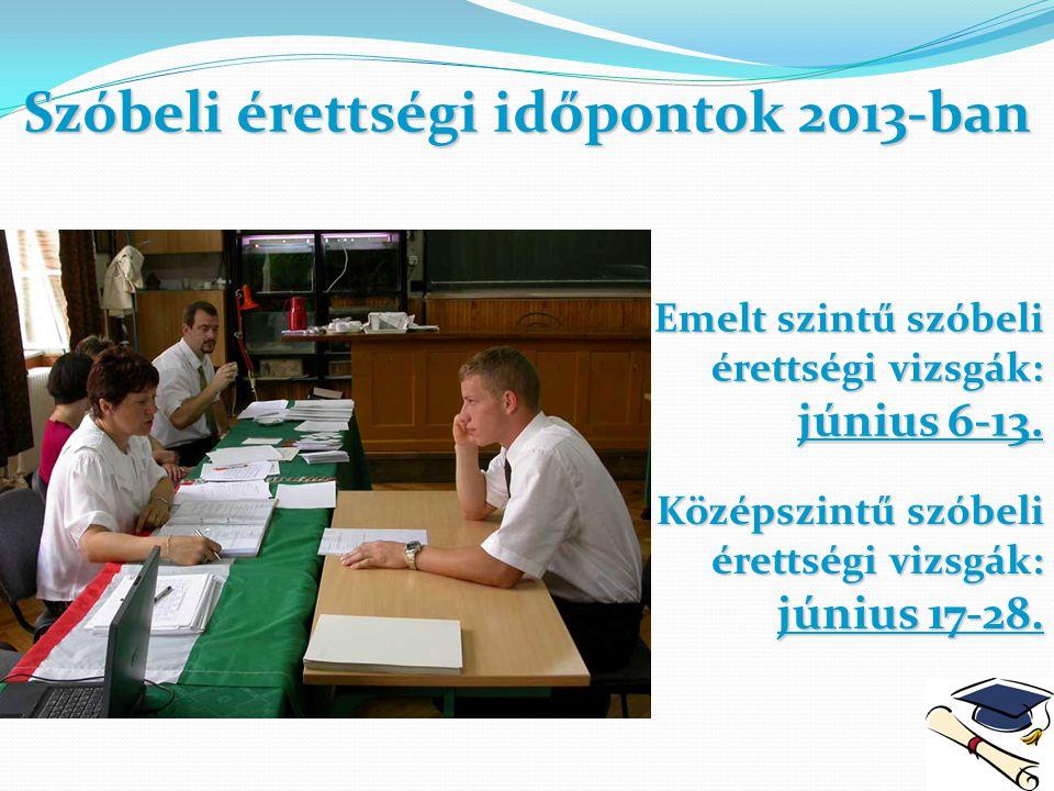 Szóbeli érettségi időpontok 2013-ban Emelt szintű szóbeli érettségi vizsgák: június 6-13. Középszintű szóbeli érettségi vizsgák: érettségi vizsgák: jú