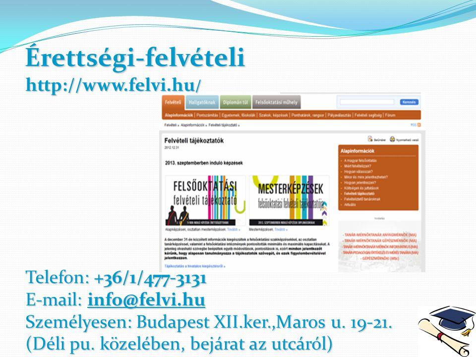 Érettségi-felvételi Telefon: +36/1/477-3131 E-mail: info@felvi.hu Személyesen: Budapest XII.ker.,Maros u. 19-21. (Déli pu. közelében, bejárat az utcár