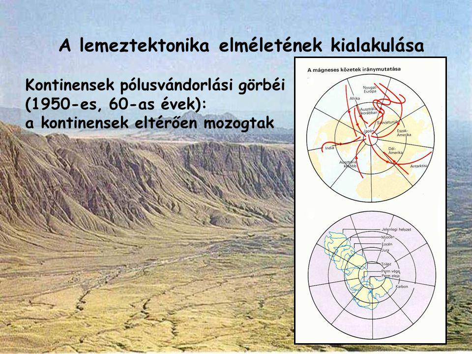 A lemeztektonika elméletének kialakulása Kontinensek pólusvándorlási görbéi (1950-es, 60-as évek): a kontinensek eltérően mozogtak