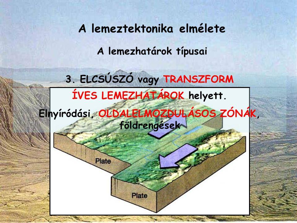 A lemeztektonika elmélete A lemezhatárok típusai 3. ELCSÚSZÓ vagy TRANSZFORM ÍVES LEMEZHATÁROK helyett. Elnyíródási, OLDALELMOZDULÁSOS ZÓNÁK, földreng