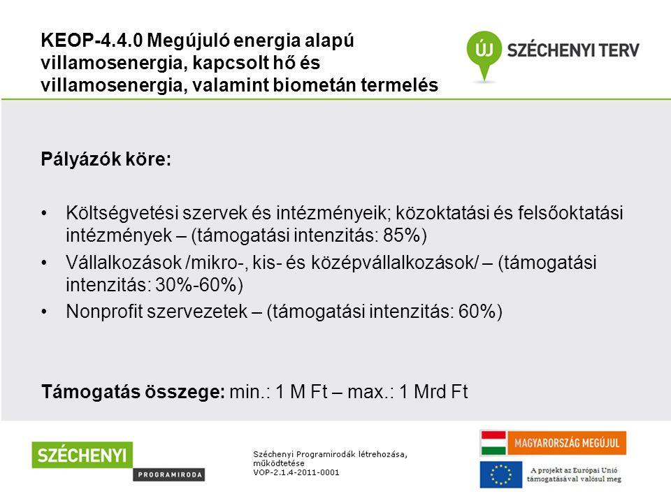 KEOP-4.4.0 Megújuló energia alapú villamosenergia, kapcsolt hő és villamosenergia, valamint biometán termelés Pályázók köre: Költségvetési szervek és