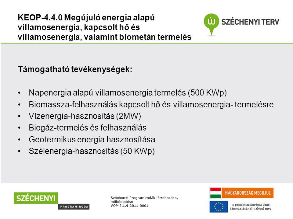 KEOP-4.4.0 Megújuló energia alapú villamosenergia, kapcsolt hő és villamosenergia, valamint biometán termelés Támogatható tevékenységek: Napenergia al
