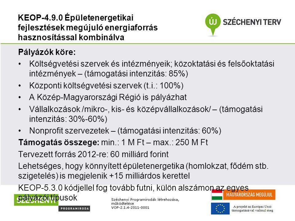 KEOP-4.9.0 Épületenergetikai fejlesztések megújuló energiaforrás hasznosítással kombinálva Pályázók köre: Költségvetési szervek és intézményeik; közok