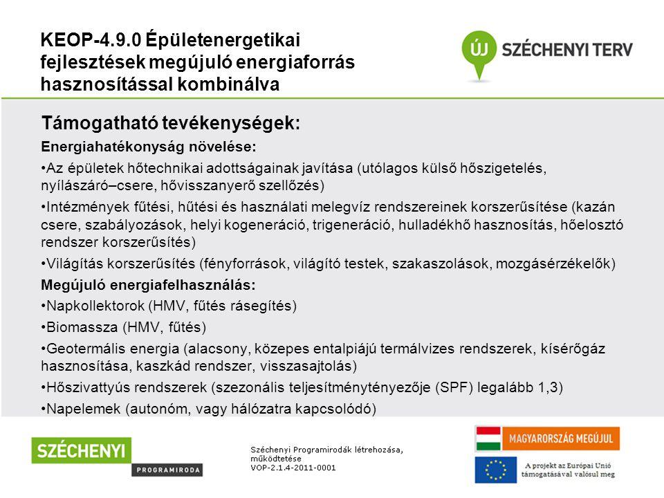 KEOP-4.9.0 Épületenergetikai fejlesztések megújuló energiaforrás hasznosítással kombinálva Támogatható tevékenységek: Energiahatékonyság növelése: Az