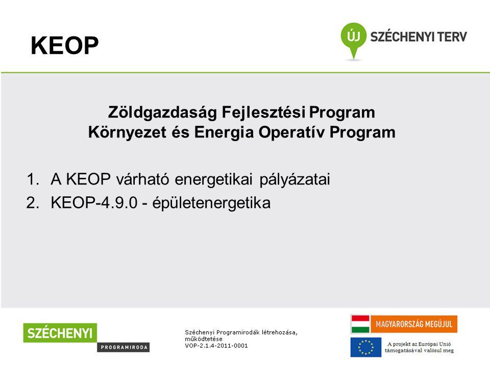 KEOP Zöldgazdaság Fejlesztési Program Környezet és Energia Operatív Program 1.A KEOP várható energetikai pályázatai 2.KEOP-4.9.0 - épületenergetika