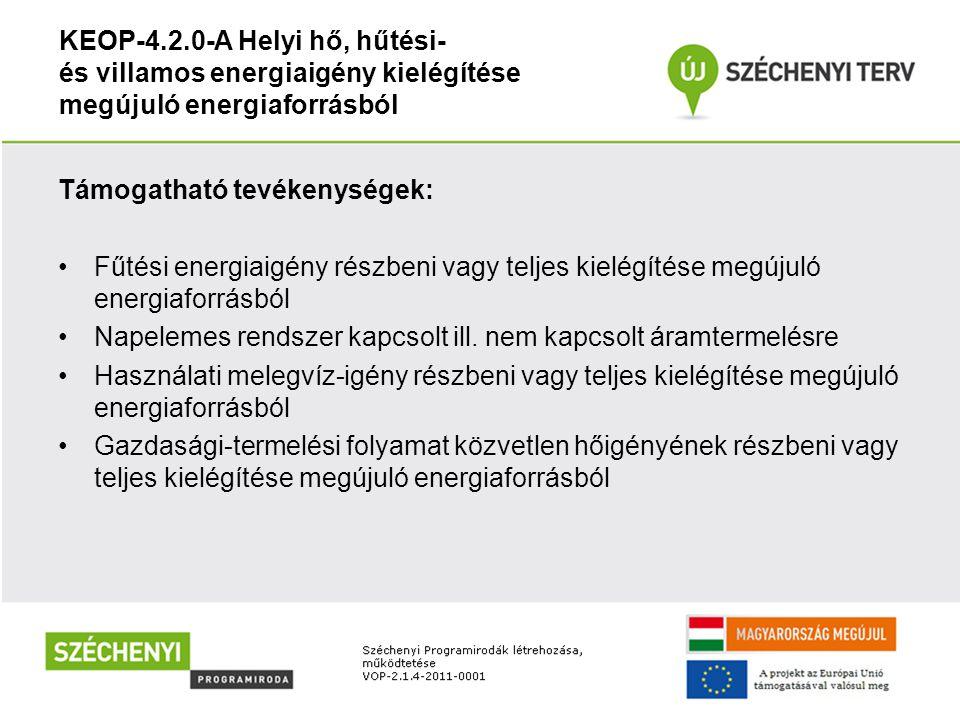 KEOP-4.2.0-A Helyi hő, hűtési- és villamos energiaigény kielégítése megújuló energiaforrásból Támogatható tevékenységek: Fűtési energiaigény részbeni