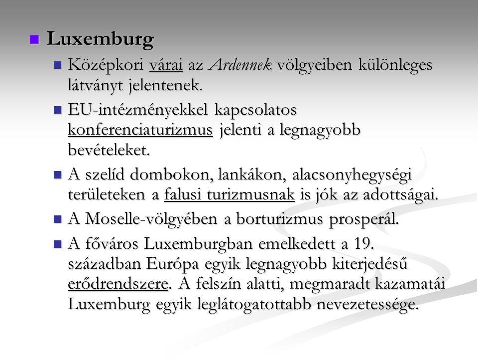 Luxemburg Luxemburg Középkori várai az Ardennek völgyeiben különleges látványt jelentenek. Középkori várai az Ardennek völgyeiben különleges látványt