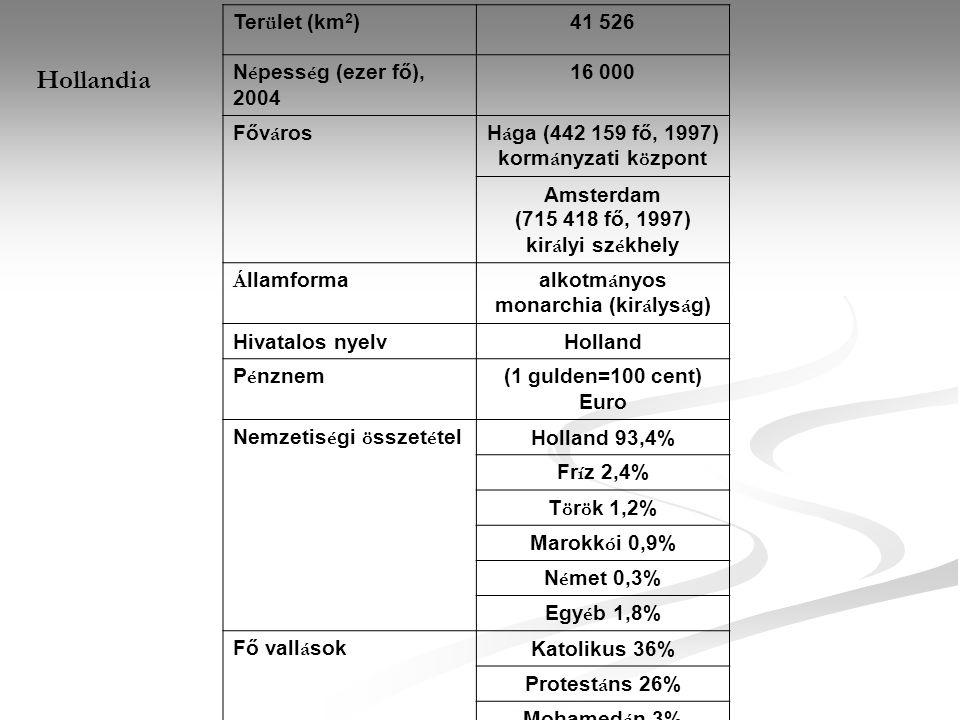 Hollandia Ter ü let (km 2 )41 526 N é pess é g (ezer fő), 2004 16 000 Főv á rosH á ga (442 159 fő, 1997) korm á nyzati k ö zpont Amsterdam (715 418 fő