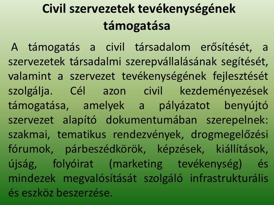 Civil szervezetek tevékenységének támogatása A támogatás a civil társadalom erősítését, a szervezetek társadalmi szerepvállalásának segítését, valamint a szervezet tevékenységének fejlesztését szolgálja.