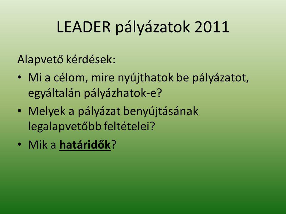 LEADER pályázatok 2011 Alapvető kérdések: Mi a célom, mire nyújthatok be pályázatot, egyáltalán pályázhatok-e.