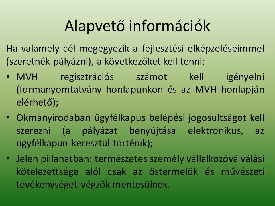 Alapvető információk Ha valamely cél megegyezik a fejlesztési elképzeléseimmel (szeretnék pályázni), a következőket kell tenni: MVH regisztrációs számot kell igényelni (formanyomtatvány honlapunkon és az MVH honlapján elérhető); Okmányirodában ügyfélkapus belépési jogosultságot kell szerezni (a pályázat benyújtása elektronikus, az ügyfélkapun keresztül történik); Jelen pillanatban: természetes személy vállalkozóvá válási kötelezettsége alól csak az őstermelők és művészeti tevékenységet végzők mentesülnek.