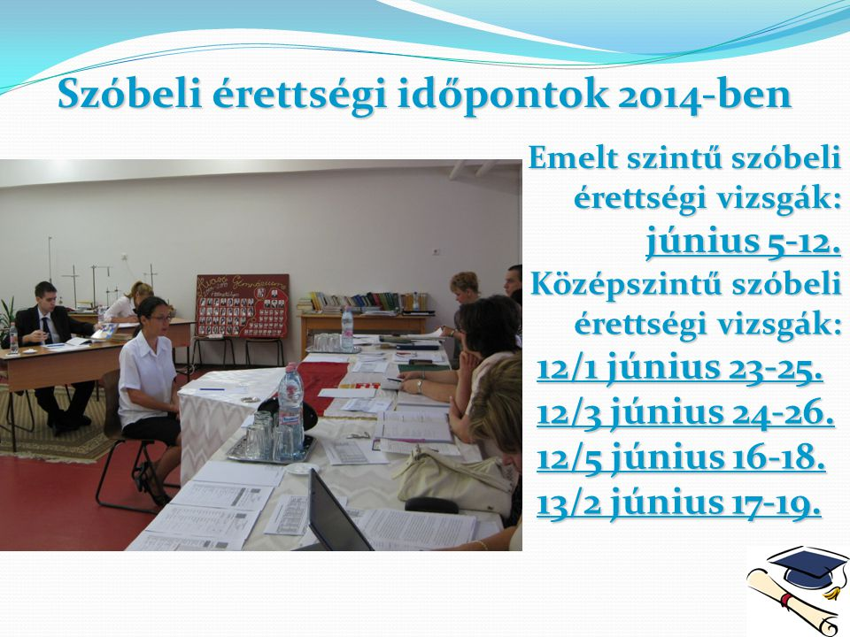 Szóbeli érettségi időpontok 2014-ben Emelt szintű szóbeli érettségi vizsgák: június 5-12.