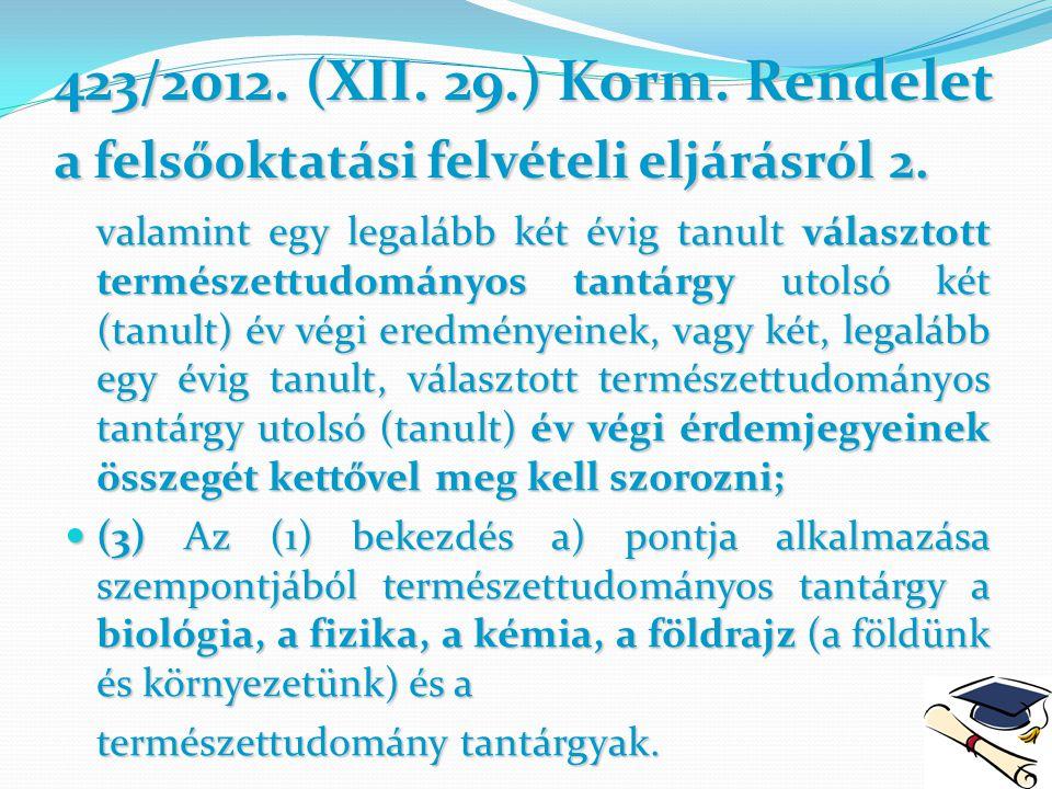 423/2012. (XII. 29.) Korm. Rendelet a felsőoktatási felvételi eljárásról2. 423/2012. (XII. 29.) Korm. Rendelet a felsőoktatási felvételi eljárásról 2.