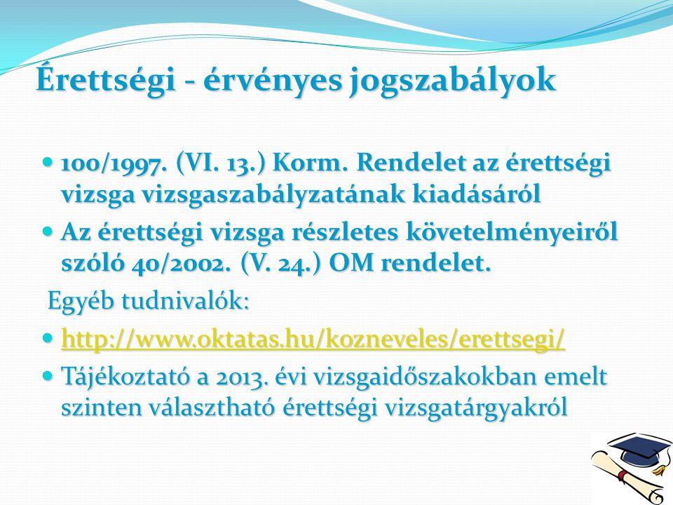 Érettségi - érvényes jogszabályok 100/1997. (VI. 13.) Korm. Rendelet az érettségi vizsga vizsgaszabályzatának kiadásáról 100/1997. (VI. 13.) Korm. Ren