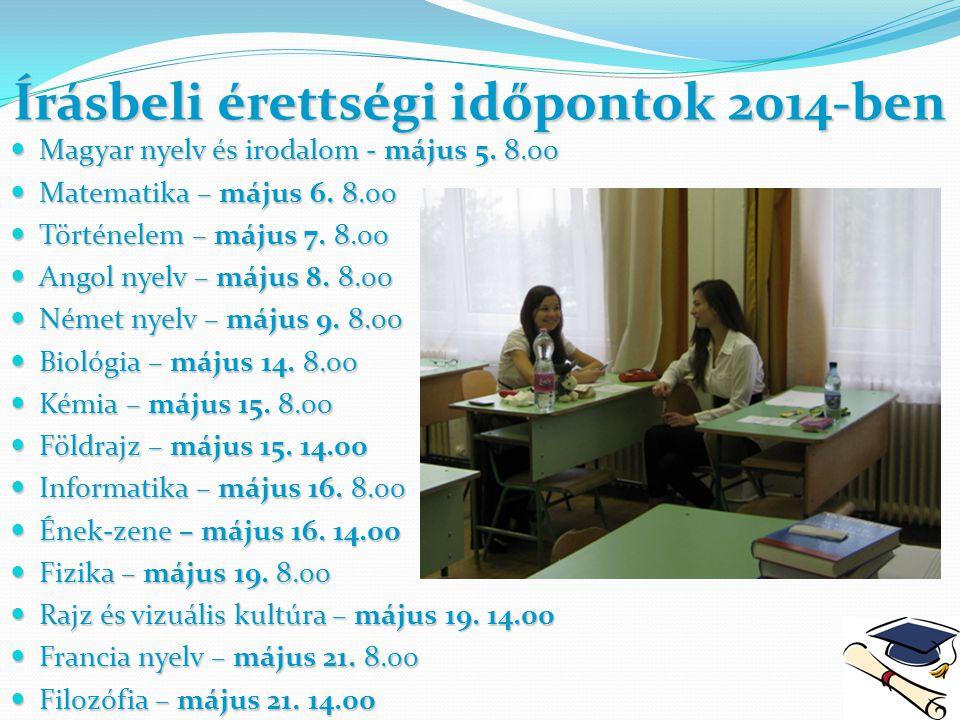 Írásbeli érettségi időpontok 2014-ben Magyar nyelv és irodalom - május 5. 8.00 Magyar nyelv és irodalom - május 5. 8.00 Matematika – május 6. 8.00 Mat