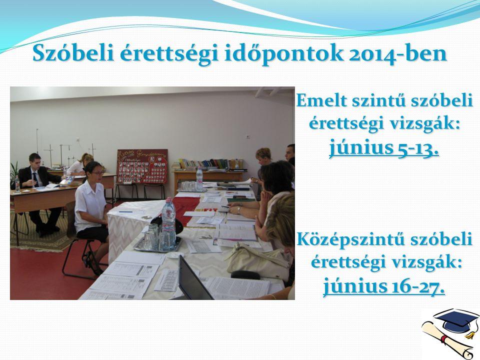 Szóbeli érettségi időpontok 2014-ben Emelt szintű szóbeli érettségi vizsgák: június 5-13. Középszintű szóbeli érettségi vizsgák: érettségi vizsgák: jú