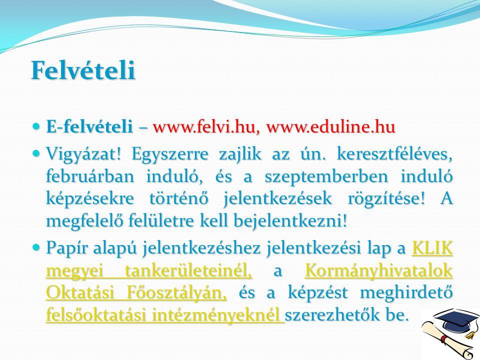 Felvételi E-felvételi – www.felvi.hu, www.eduline.hu E-felvételi – www.felvi.hu, www.eduline.hu Vigyázat! Egyszerre zajlik az ún. keresztféléves, febr
