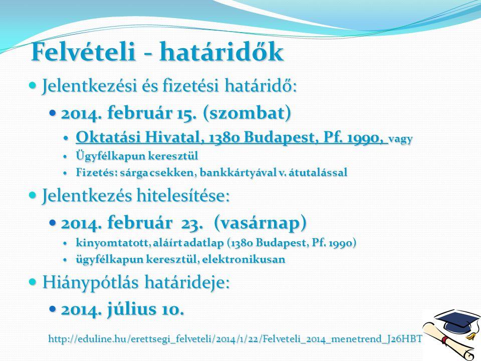 Felvételi - határidők Jelentkezési és fizetési határidő: Jelentkezési és fizetési határidő: 2014. február 15. (szombat) 2014. február 15. (szombat) Ok