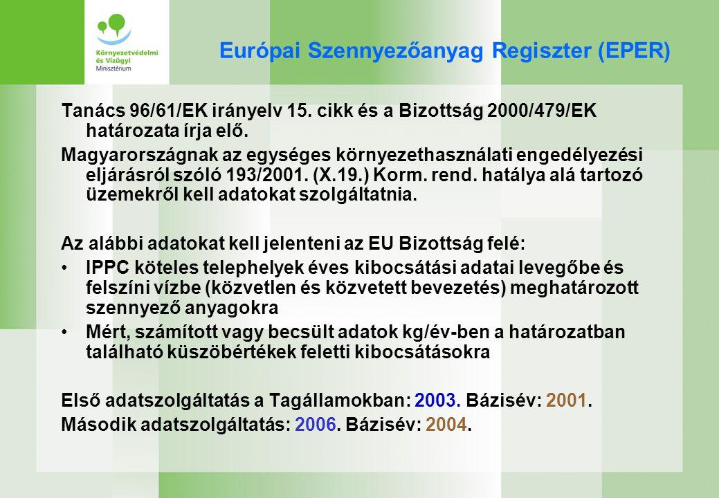 E-PRTR rendelet - határidők Első bázisév: 2007 Az adatok megküldése az Európai Bizottsághoz: –Első jelentés: a bázisév végétől számított 18 hónapon belül –További jelentések megküldése: bázisév végétől számított 15 hónapon belül Az adatok európai közzététele (Európai Környezetvédelmi Ügynökség): –Első jelentés: bázisév végétől számított 21 hónapon belül –További jelentések: bázisév végétől számított 16 hónapon belül