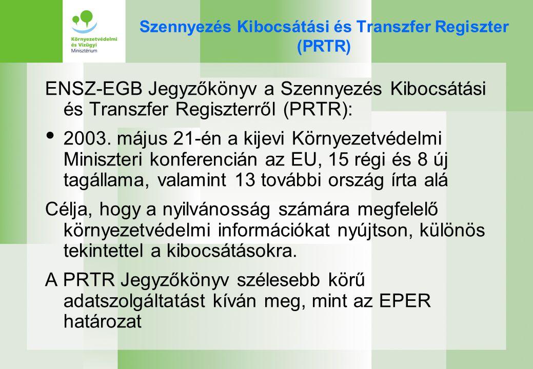 Útmutató az E-PRTR rendelethez Az Európai Bizottság útmutatót dolgoz ki az E-PRTR rendelethez, melynek tervezetét 2006 januárjában közzé fogja tenni a www.prtr.cec.eu.int weboldalon, és így lehetőséget biztosít a nyilvánosságnak az útmutatóval kapcsolatos vélemények kifejtésére A nyilvánosság részvételét a továbbiakban is biztosítani kívánják: –Nem kormányzati szervek meghívása a rendelet végrehajtó bizottságának üléseire –Előzetes Internetes konzultáció, és eredményeinek közzététele