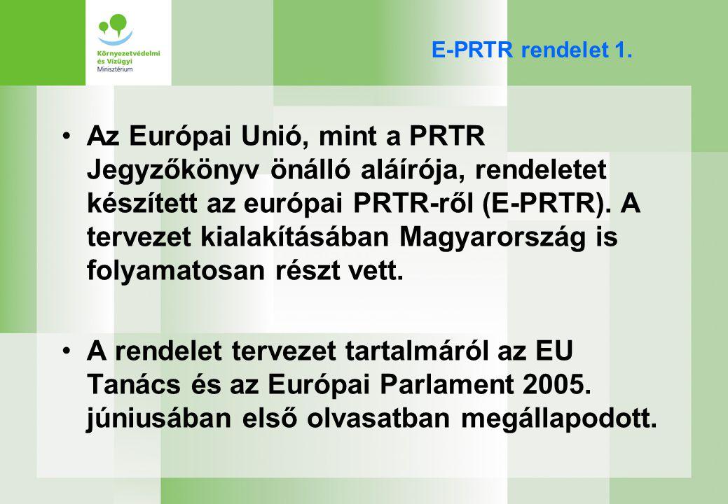 EPER-PRTR megvalósítás hazai stratégiája (1) –Fokozatosan, ütemterv szerint kell bevezetni a PRTR-t az EPER kibővítésével, annak érdekében, hogy ennek köszönhetően megbízható minőségű adatokhoz jussunk.