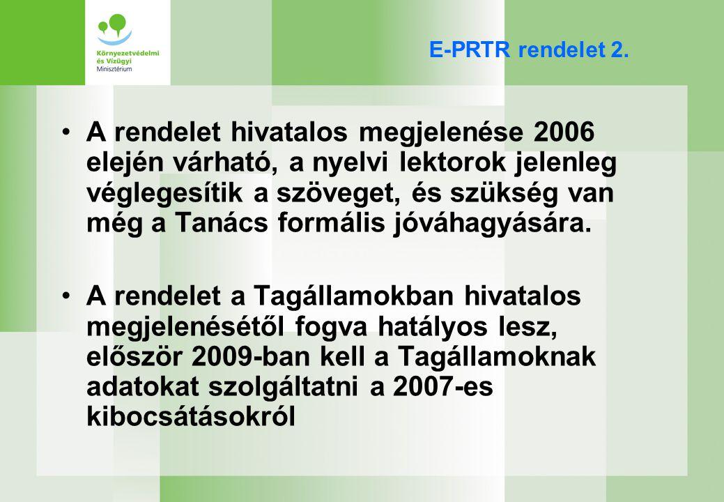 E-PRTR rendelet céljai Koherens szennyezés-nyilvántartó rendszer fokozatos létrehozása, mely strukturált, számítógépes, a nyilvánosság számára hozzáférhető, és rendszeres bevallás megbízható és összevethető adatait tartalmazza ↓ Környezeti információkhoz a nyilvánosság hozzáférésének növelése Környezeti tudatosság növelése Közvélemény hatékonyabb részvétele a környezeti döntéshozatalban ↓ A környezet magas szintű védelme Az integrált és koherens PRTR megbízható adatbázist nyújt a nyilvánosságnak, az iparnak, tudósoknak, biztosítótársaságoknak, önkormányzatoknak, civil szervezeteknek és egyéb döntéshozóknak az összehasonlításokhoz és a jövőbeni döntésekhez környezeti ügyekben.