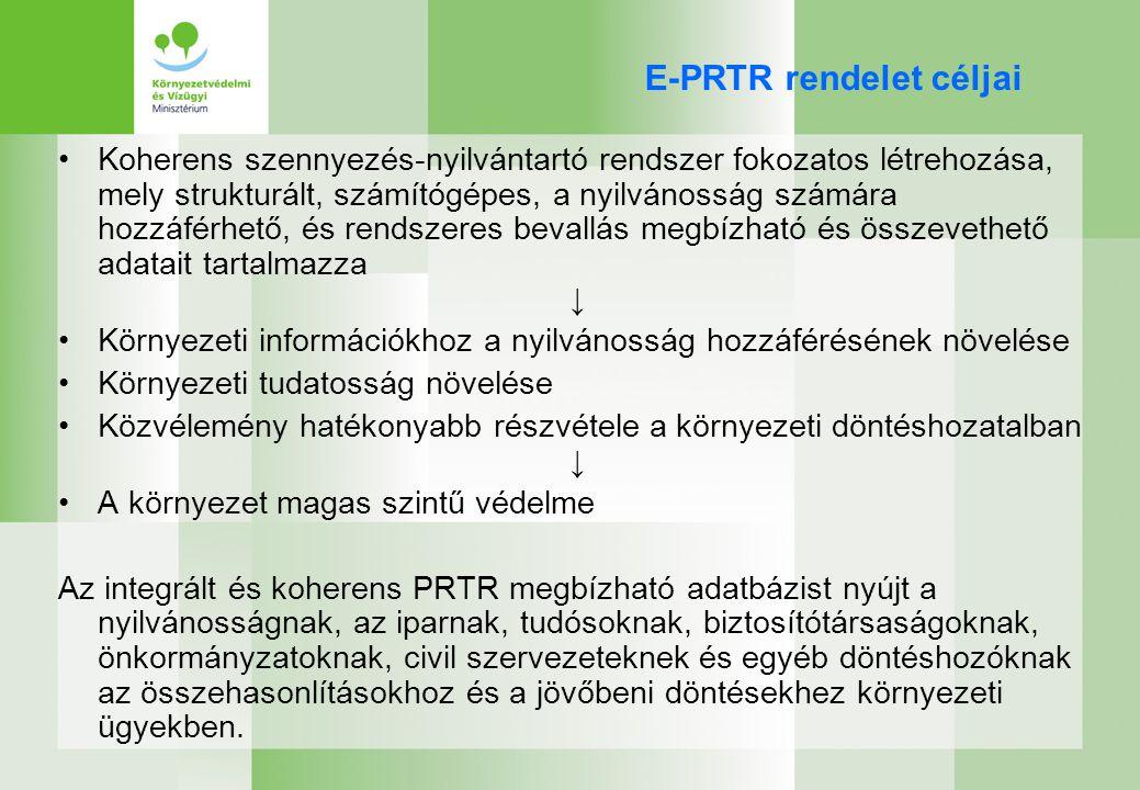 E-PRTR rendelet követelményei (1) Megbízható, teljes és összevethető adatok – minőségbiztosítás Adatok azonosítása összetett és nem összetett formában is – telephelyi adatok (források összesítése) 10 évre visszamenőleg az összes adatot tartalmazza, az üzemeltetőknek pedig 5 évig meg kell őrizniük az információk alapjául szolgáló dokumentációkat Hivatkozásokat tartalmaz a nemzeti PRTR adatbázisokra és más releváns adatbázisokra Nyilvánosság –könnyen elérhesse – Internet –az adatokhoz fűződő érdek igazolásának szükségessége nélkül elérhesse –Részt vehessen a PRTR továbbfejlesztésével kapcsolatos döntéshozatalban