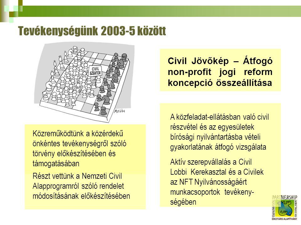 Tevékenységünk 2003-5 között Civil Jövőkép – Átfogó non-profit jogi reform koncepció összeállítása A közfeladat-ellátásban való civil részvétel és az egyesületek bírósági nyilvántartásba vételi gyakorlatának átfogó vizsgálata Aktív szerepvállalás a Civil Lobbi Kerekasztal és a Civilek az NFT Nyilvánosságáért munkacsoportok tevékeny- ségében Közreműködtünk a közérdekű önkéntes tevékenységről szóló törvény előkészítésében és támogatásában Részt vettünk a Nemzeti Civil Alapprogramról szóló rendelet módosításának előkészítésében