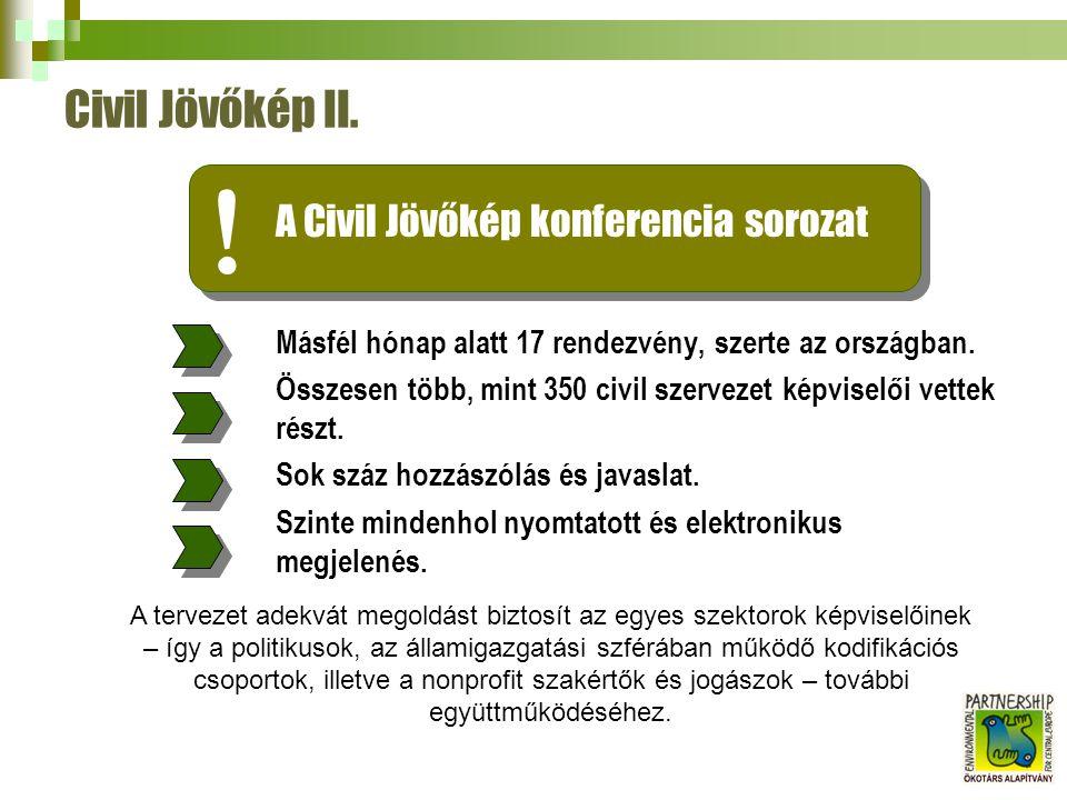 A koncepció három, egymással összefüggő területen vizsgálja a magyar civil nonprofit joganyagot.