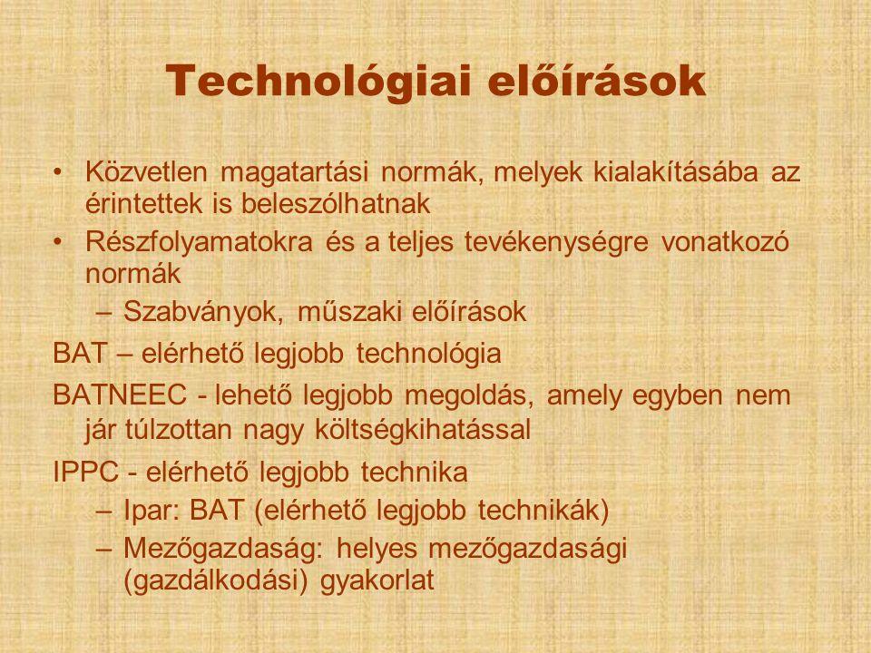 Technológiai előírások Közvetlen magatartási normák, melyek kialakításába az érintettek is beleszólhatnak Részfolyamatokra és a teljes tevékenységre v