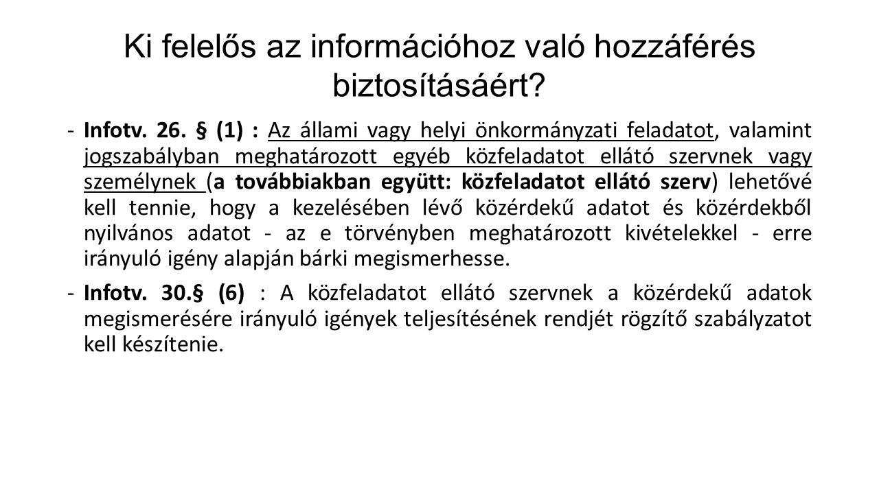 Ki felelős az információhoz való hozzáférés biztosításáért? -Infotv. 26. § (1) : Az állami vagy helyi önkormányzati feladatot, valamint jogszabályban