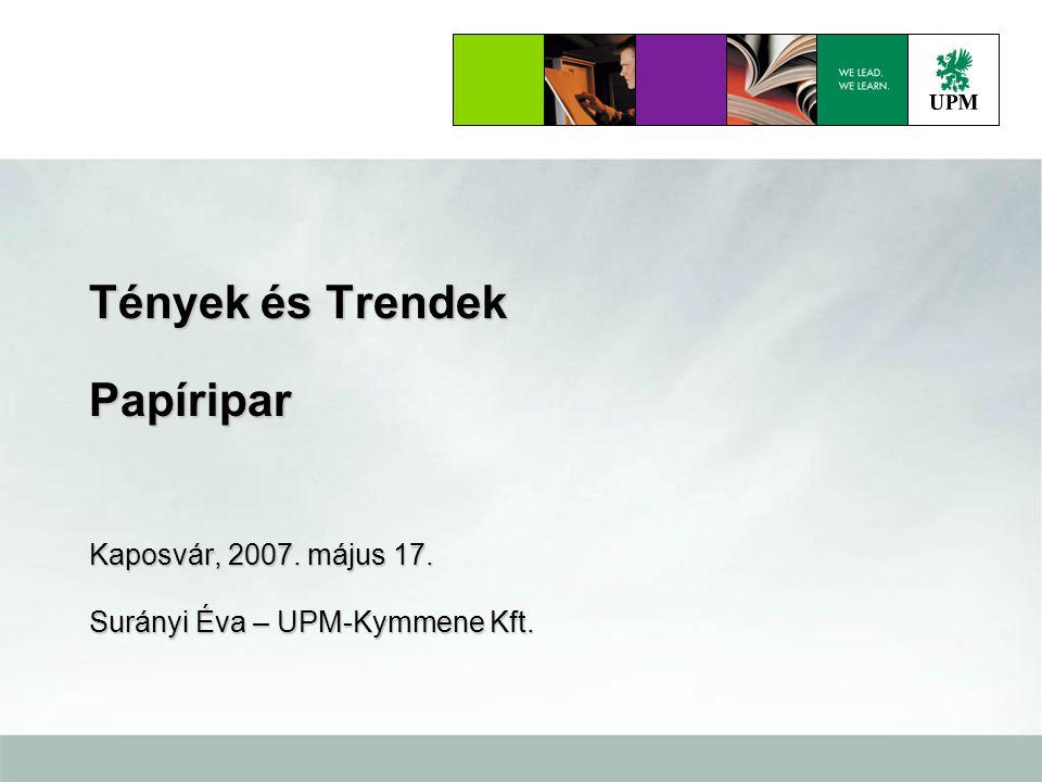 UPM2 Papírfajtánkénti kereslet = Becsült növekedés 2006 – 2020 Észak Amerika 41 millió tonna 10 4 4 6 6 13 Európa 45 millió tonna 11 4 4 7 7 9 9 Ázsia & egyéb piacok 60 millió tonna 16 2 2 13 4 4 25 3 3 5 5 3 3 Source: RISI, Jaakko Pöyry, UPM 2006 +1 +10+35