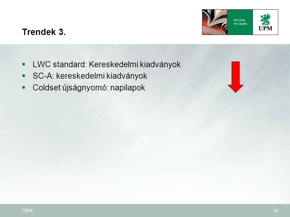 UPM26 Trendek 3.  LWC standard: Kereskedelmi kiadványok  SC-A: kereskedelmi kiadványok  Coldset újságnyomó: napilapok