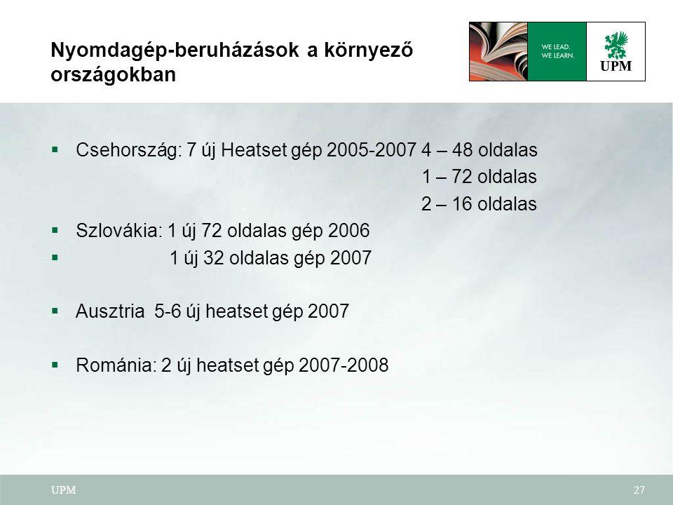 UPM27 Nyomdagép-beruházások a környező országokban  Csehország: 7 új Heatset gép 2005-2007 4 – 48 oldalas 1 – 72 oldalas 2 – 16 oldalas  Szlovákia: