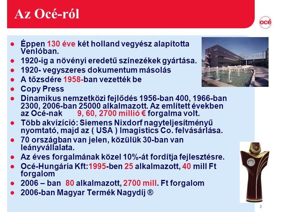 3 Az Océ-ról l Éppen 130 éve két holland vegyész alapította Venlóban.