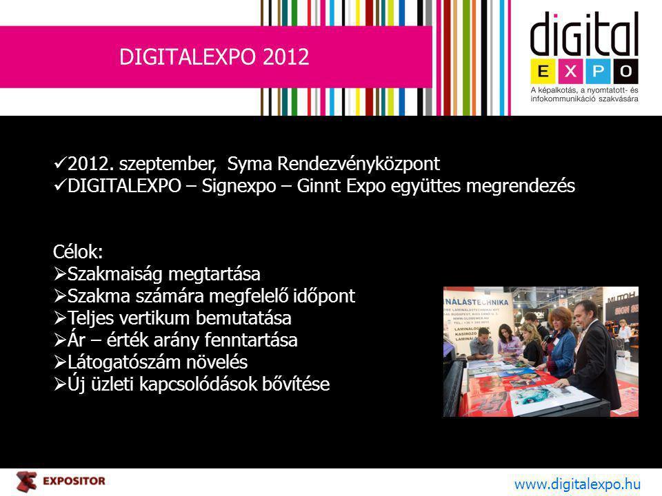 DIGITALEXPO 2012 www.digitalexpo.hu 2012. szeptember, Syma Rendezvényközpont DIGITALEXPO – Signexpo – Ginnt Expo együttes megrendezés Célok:  Szakmai
