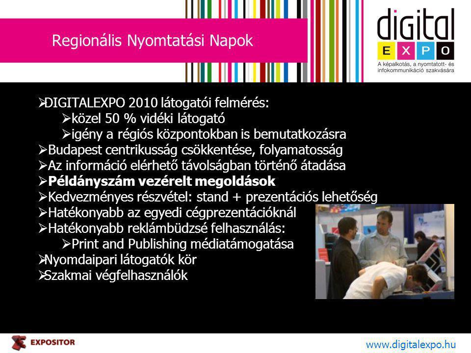 Regionális Nyomtatási Napok www.digitalexpo.hu  DIGITALEXPO 2010 látogatói felmérés:  közel 50 % vidéki látogató  igény a régiós központokban is bemutatkozásra  Budapest centrikusság csökkentése, folyamatosság  Az információ elérhető távolságban történő átadása  Példányszám vezérelt megoldások  Kedvezményes részvétel: stand + prezentációs lehetőség  Hatékonyabb az egyedi cégprezentációknál  Hatékonyabb reklámbüdzsé felhasználás:  Print and Publishing médiatámogatása  Nyomdaipari látogatók kör  Szakmai végfelhasználók