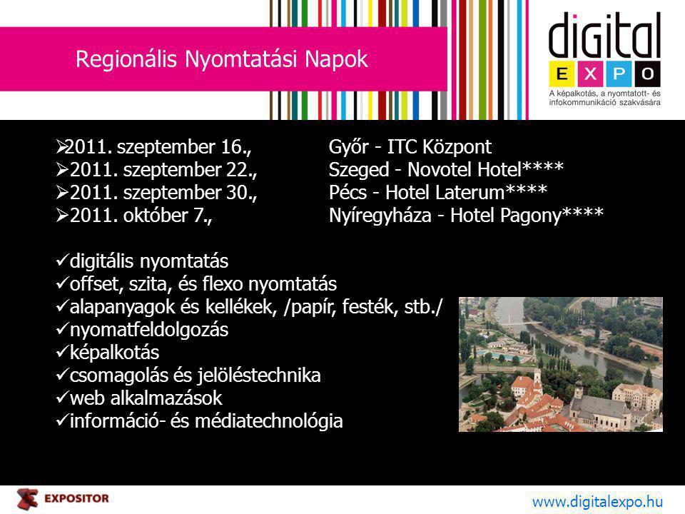 Regionális Nyomtatási Napok www.digitalexpo.hu  2011. szeptember 16.,Győr - ITC Központ  2011. szeptember 22., Szeged - Novotel Hotel****  2011. sz